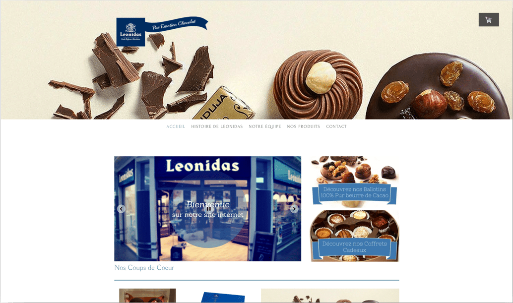 Capture du visuel du site internet Emotion Chocolat Leonidas