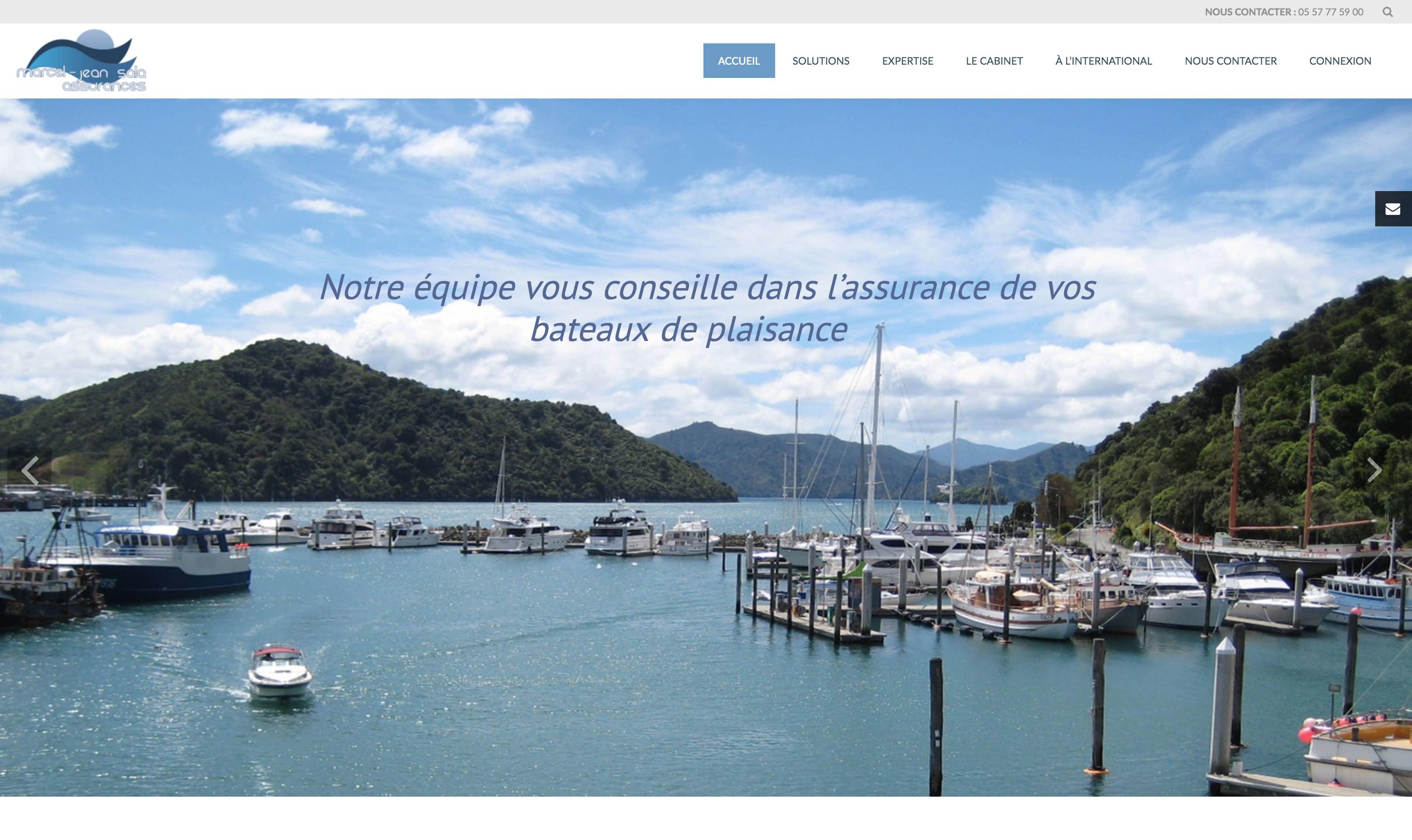 Vue sur la page d'accueil du site sala assurances avec vu sur le diaporama