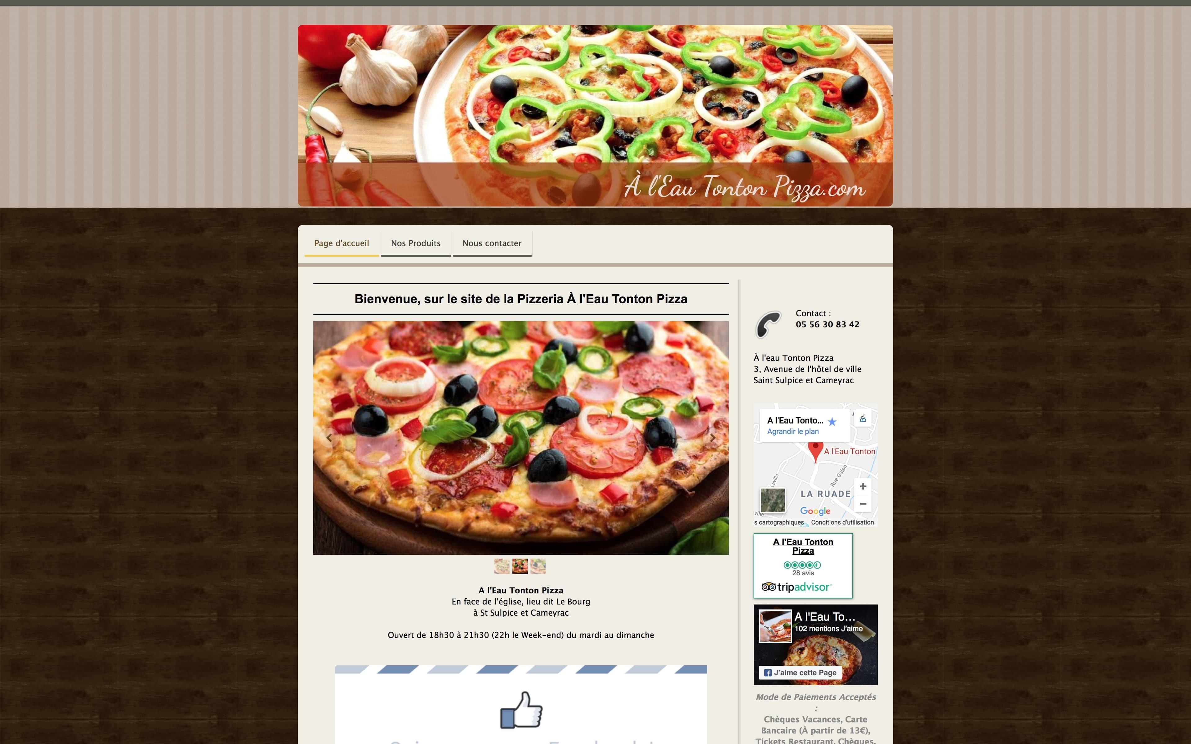 Page d'accueil site internet À l'Eau Tonton Pizza