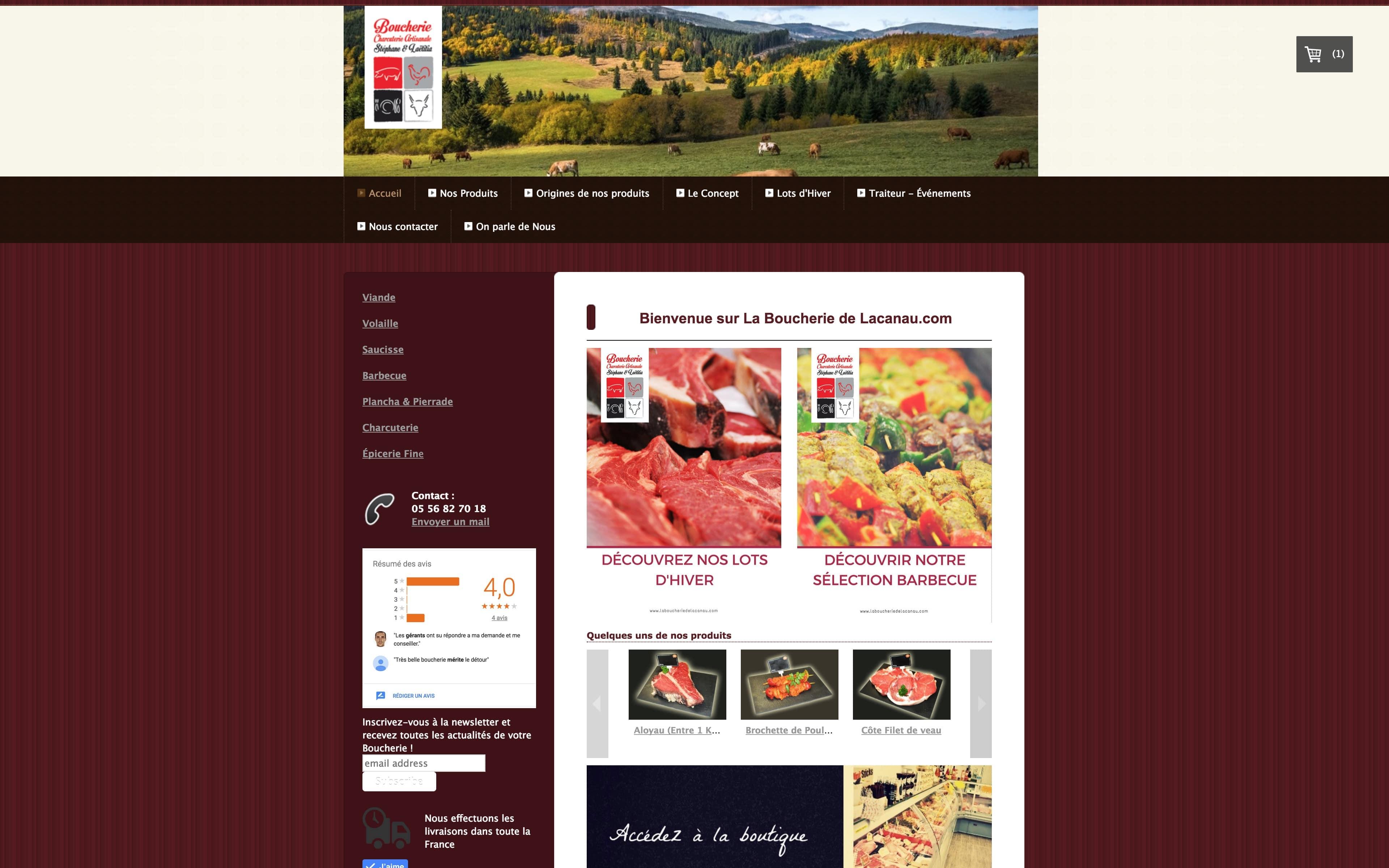 Page d'accueil du site internet La Boucherie de Lacanau