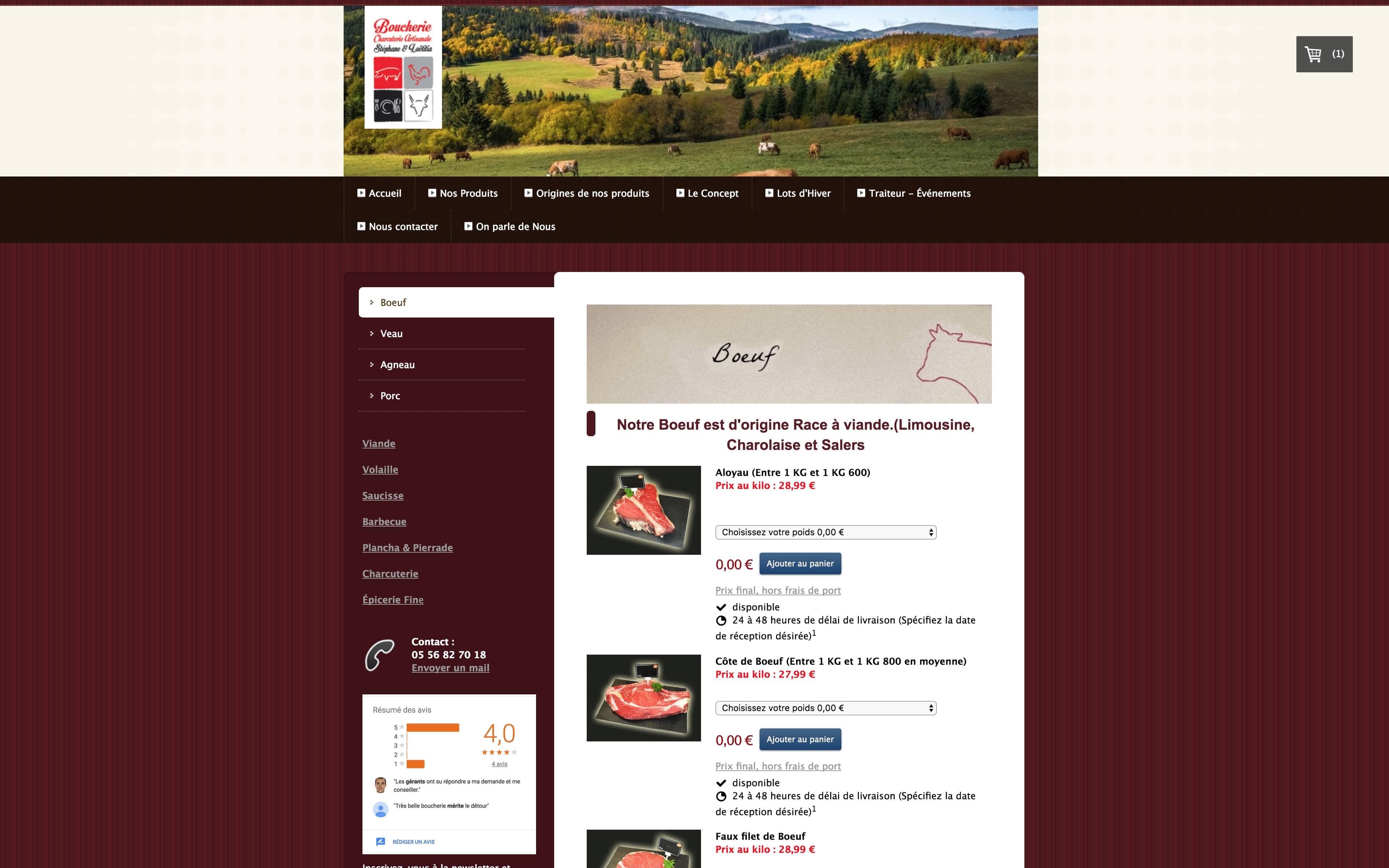 Page Boeuf Site internet La boucherie de Lacanau