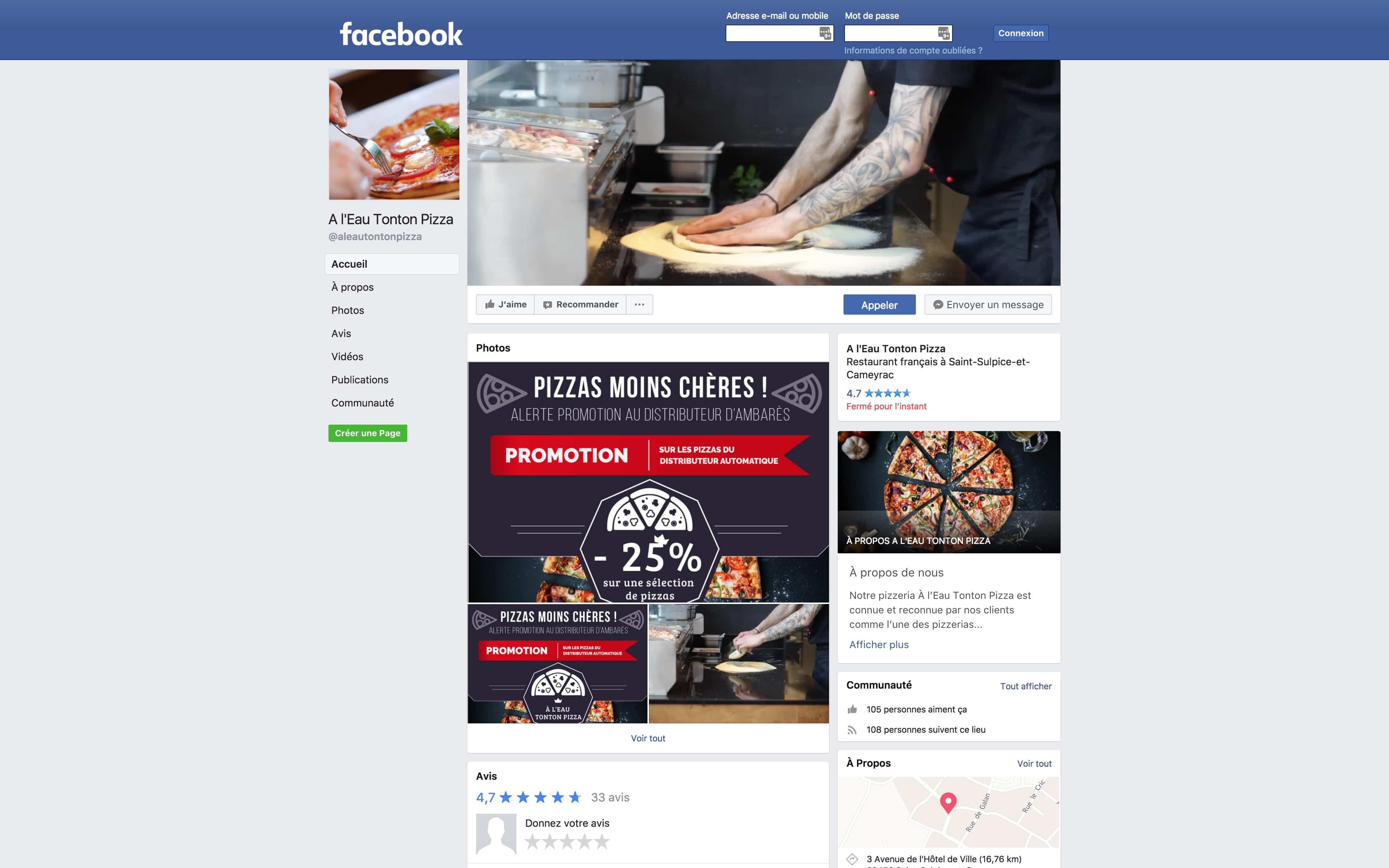 facebook a l'eau tonton pizza