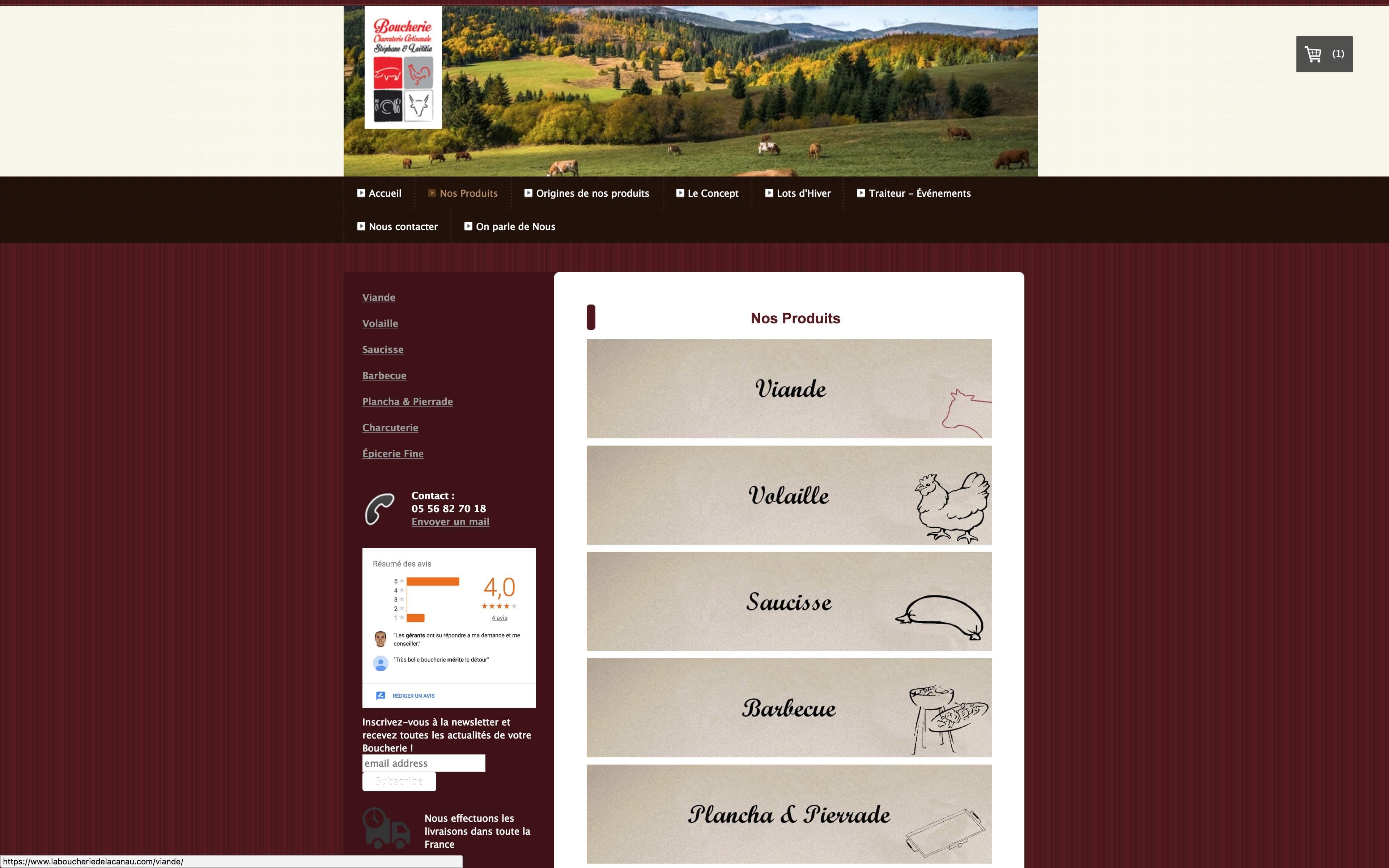 Page Nos Produits La Boucherie de Lacanau