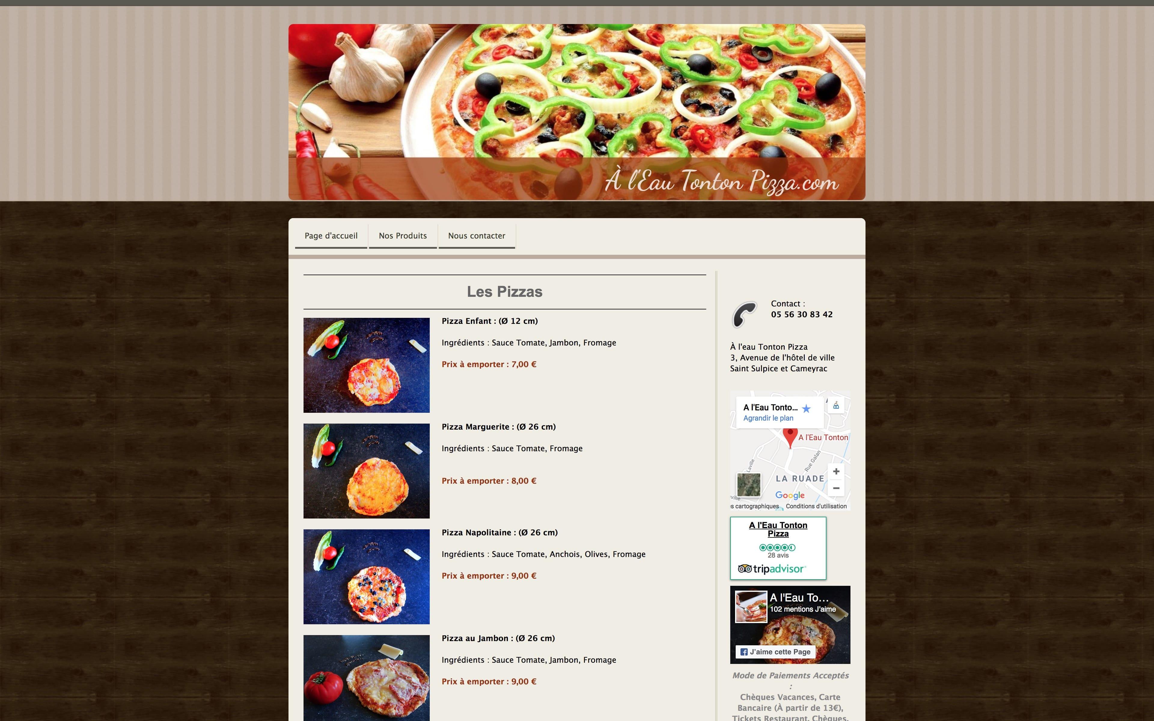 Page nos pizzas site internet À l'Eau Tonton Pizza