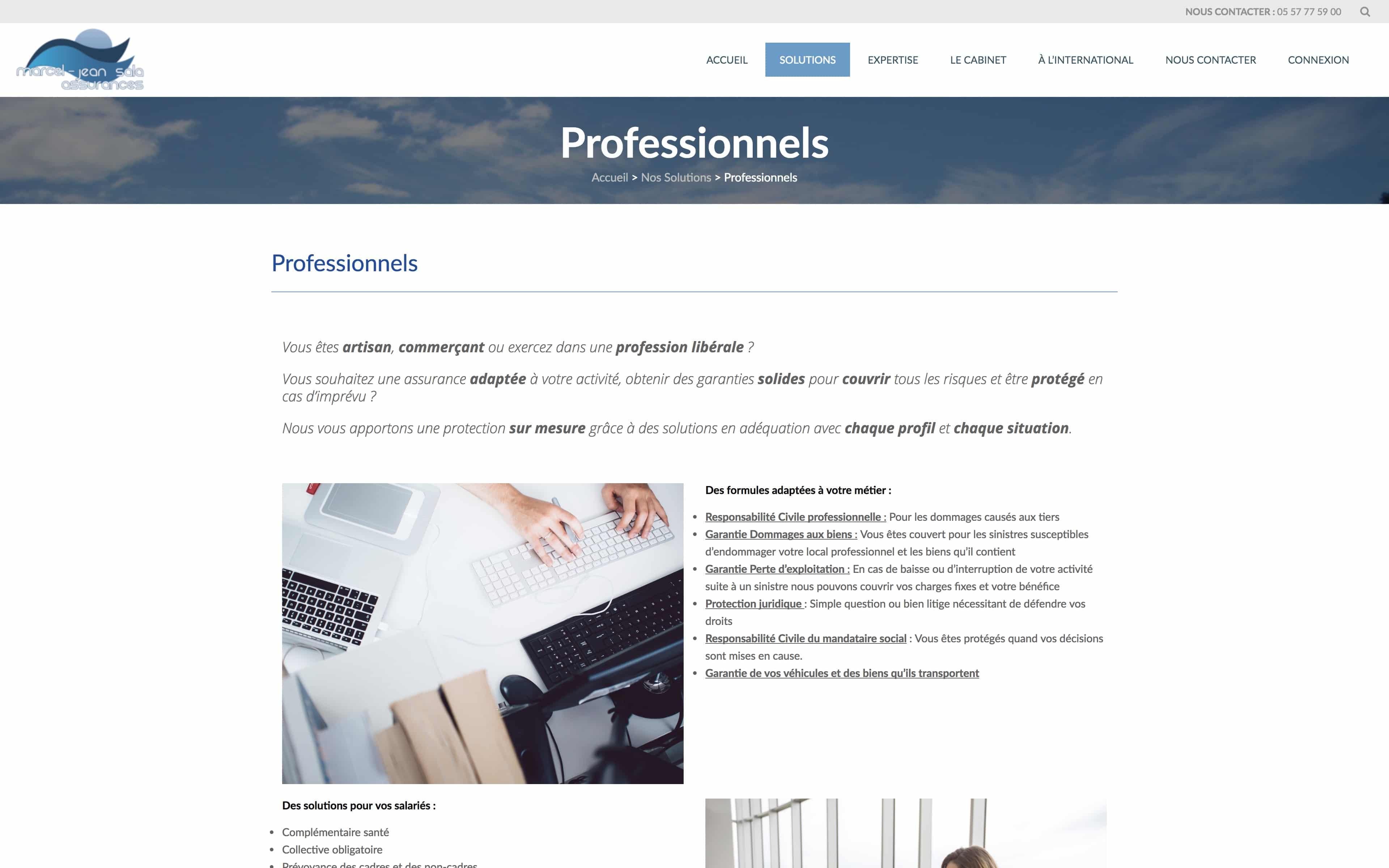 Page à thème développant le domaine des professionnels